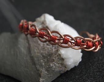 Copper bangle. Copper hard bracelet. Twisted hard bracelet of copper wire. Wire wrapped bangle. Bracelet for women. Wire work jewellery