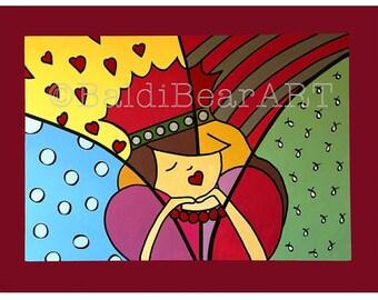 Art Print titled 'Sleeping Princess', Nursery Art, Nursery Decor, Little Girls Room Decor, Princess, Matted Art Print
