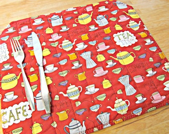 Coffee Placemats, Quilted Placemats, Red Placemats, Retro Placemats, Coffee Decor, Tea Placemats, Tea Decor, Coffee print fabric