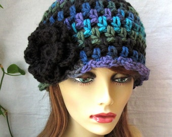 SALE Womens Hat, Beanie, Flower,  Multi, Blue Green Purple Black, Chunky, Warm. Teens, Winter, Ski Hat, Birthday Gifts for Her, JE409BF2