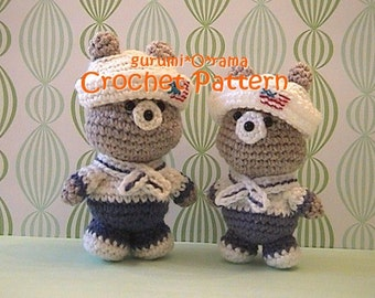 kawaii amigurumi Bear pattern, crochet pattern stuffed toy plush nautical bear tutorial, instant download