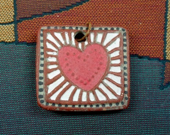 Handmade Ceramic Red Earthenware Clay, One of a Kind, Terra Sigillata, Hand Colored Heart Pendant, Geometric Pattern Back, Jewelry Component