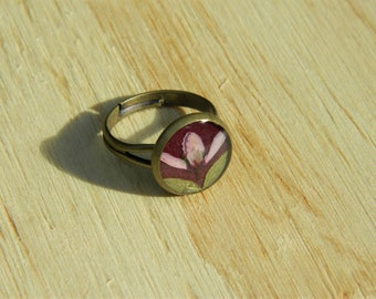 Adjustable Ring With Australian Native Wild Pressed Flowes
