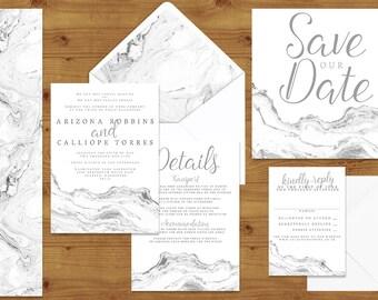 Marble Wedding Invitations Stationery Set - Printed or Digital Download - Marble Wedding - Minimal Wedding - Wedding Printable