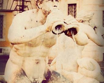 Rome photograph, fine art photography, Italy print, travel photo, Italian fountain - Horn Player