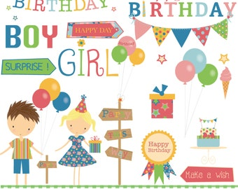 Birthday partytime,kids, digital clipart and paper set