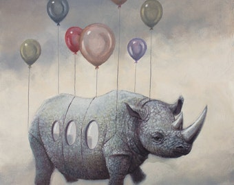 Air Rhino. Signed Art Print of an Original Surreal Oil Painting