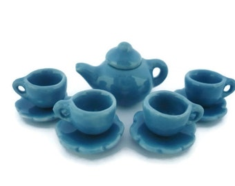 Set of 9 Tiny Coffee Cup with Scalloped Plates and Teapot : Blue Sky
