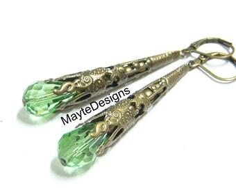Peridot Green Earrings/Long Dangle Earrings/August Birthstone Earrings/Brass Filigree Earrings Birthstone Jewelry/Long Cone Earrings