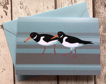 Oystercatcher greeting card – blank inside   Shorebirds card   Waders card