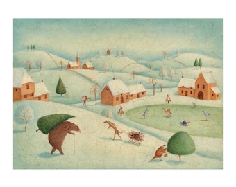Another Winters Tale  . Original  signed illustration print