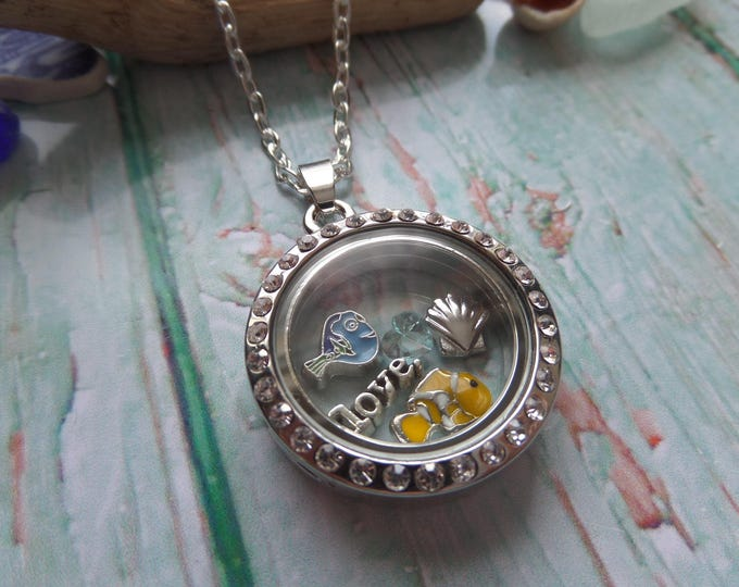 Sea floating locket, Nemo locket, Dory jewelery, fish gift, floating charm locket, sea floating charms, keep swimming, fandom gift UK