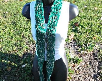 Crochet scarf - Green scarf - Green blend scarf - Ladies gift - female scarf - Scarves - Long Scarf - Skinny scarf - Crochet belt -Green
