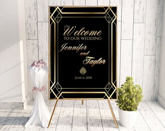 large wedding sign, gold wedding sign, gold wedding signage, Gatsby decorations, Art Deco sign, great Gatsby party, welcome poster A102