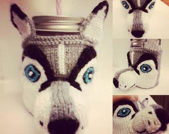 Knitted Huskie Coffee Cozy - To-Go Sleeve - Knitted To-Go Sleeve - Knitted Coffee or Tea Cozy - Siberian Huskie Cozy