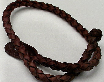 Spanish Leather Bolo Ankle Bracelet -- Celtic Round Leather Anklet / Large Mens Wristband