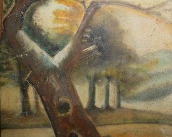 Vintage oil on wood board abstract Maine tree landscape