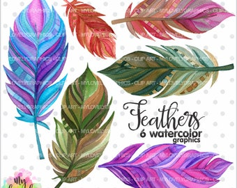 Feather Clipart, Feather Graphic, COMMERCIAL USE, Kawaii Clipart, Watercolor Feathers, Digital Feathers, Planner Accessories