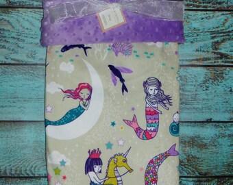 Personalized Mermaids Minky Blanket, Designer Minky Baby Blanket, Personalized Minky Baby Blanket, Mermaid Baby Blanket