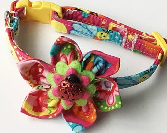 Pink and Yellow Insect Collar with Matching Ladybug Flower for Girl Dog or Cat
