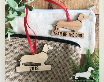 Year of the Dog. 2018 Wood Ornament -- (Limited Edition, Doxie, Dachshund, Long Dog, Vintage-Style, Laser Cut, Sausage Dog, Gift Under 10)