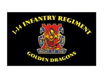 14th Infantry Golden Dragons (1-14, 2-14, and 5-14) Flags 3'x5' and 2'x3' Set. Free Shipping!