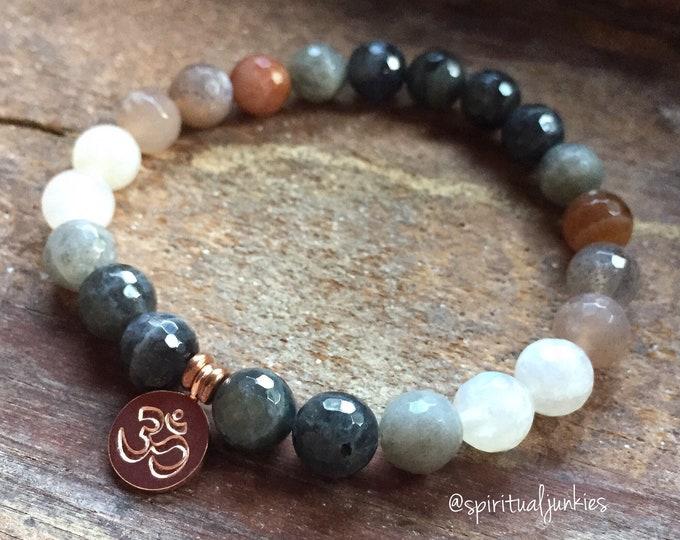 Ommmbre | Labradorite, Sunstone, Moonstone + Rose Gold Vermeil Om | Spiritual Junkies | Stackable Mala Bracelet | Yoga + Meditation