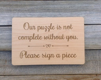 Sign for Wedding Guest Book Puzzle -Custom Wood Sign to Coordinate with Your Puzzle