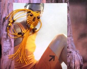 Orange Web Macrame Owl Necklace