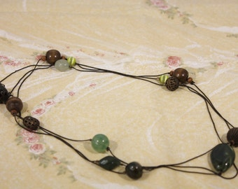 Long Dark Chain with Brown and Green Beads Necklace