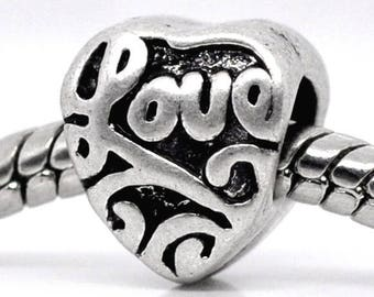 Set of 3 beads metal antiqued pattern heart LOVE CHARMS pr