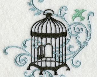 Filigree Birdcage Version C Embroidered Flour Sack Hand/Dish Towel