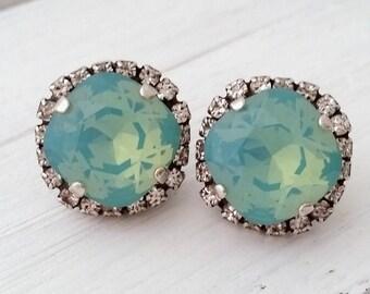 Mint earrings,oxidized silver earrings,Bridesmaid gift,Bridal earring,mint aqua earrings,pacific opal stud,crystal earring,Swarovski earring