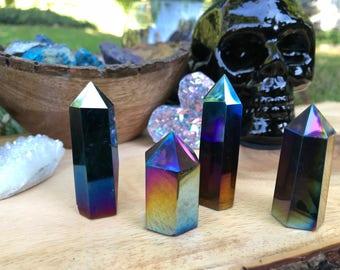 ONE Rainbow Titanium Aura Quartz Tower // Rainbow Aura // Aura Tower // Aura Quartz Tower