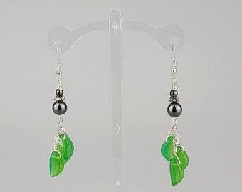 Hematite & Leaves Earrings