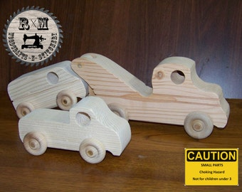 Wood Toy, Wood Tow Truck Set, Tow Truck Set
