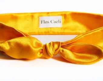 Yellow Satin Headband - Women Headbands - Satin Hair Bows - Shiny Accessories