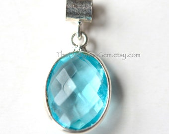 Sky Blue Quartz Oval Pendant with Sterling Silver Bezel and Bail