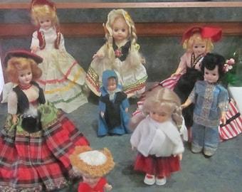1965 Pee Wee Doll Plus 7 Around The World Dolls 1960 Era