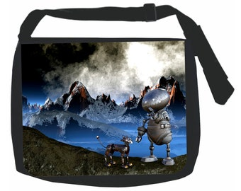Robot and Dog on a Mountain - Black School Shoulder Messenger Bag