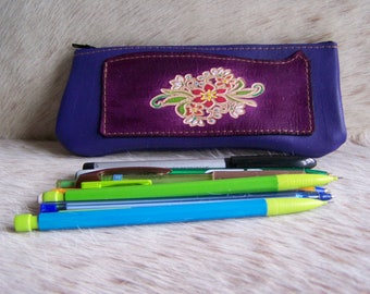 Clutch pencil leather, flower, style romantic purple and plum, pencil case for women or men leather