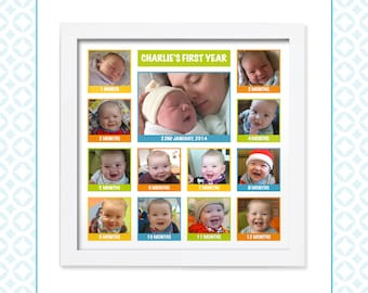 My First Year - Month by Month - Single Photo Montage - New baby - First birthday