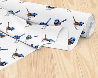 Printed in Australia - Blue Wren Watercolor Australian Fairy Wren Bird, Cotton Sateen Printed by the metre