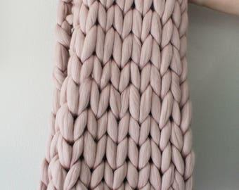 "48""x60"" Merino Wool Thick Knit Blanket, Medium Chunky Knit Blanket"