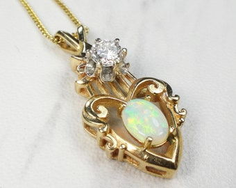 Vintage Opal Necklace Vintage Opal Diamond Necklace Genuine Opal Heart Pendant 14k Gold Necklace October Birthstone Yellow Gold
