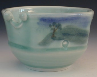 Handmade Asian Styled Porcelain Pottery Ricebowl Wheel Thrown Landscape with Chopsticks
