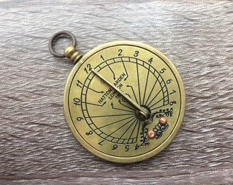 Antique Finish Brass Sundial Pendant w/ Folding Arm - Old Vintage Pocket Style - Necklace Charm - Nautical Maritime Gift