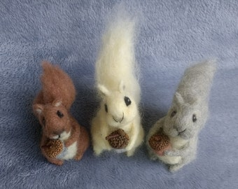 One Adorable Needle Felted Squirrel Choose Grey White or Brown with Acorn