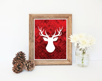 Reindeer Silhouette, Print, Red Wall Art, Christmas Printable, Deer Antlers, Gift for Hunter, Holiday Decoration