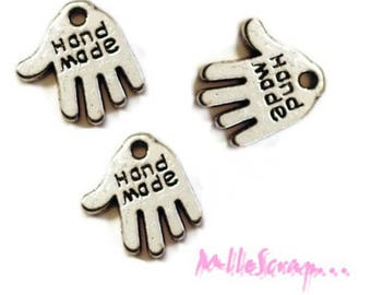 """Set of 5 charm hands """"hand made"""" embellishments scrapbooking *."""